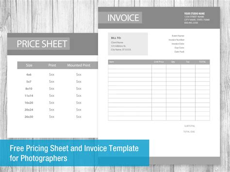 price sheet template images