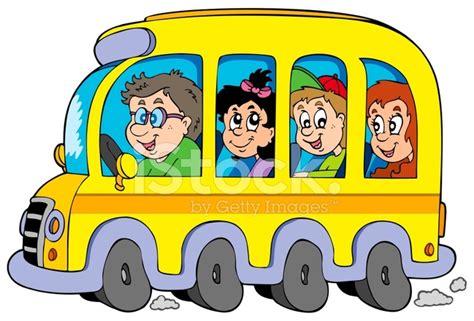 imagenes de autobuses escolares cartoon school bus with kids stock vector freeimages com