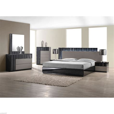 modern king size bed platform frame  led lighting headboard bedroom furniture ebay