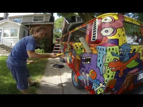 spray paint hippie time lapse clear coating the hippie to protect the
