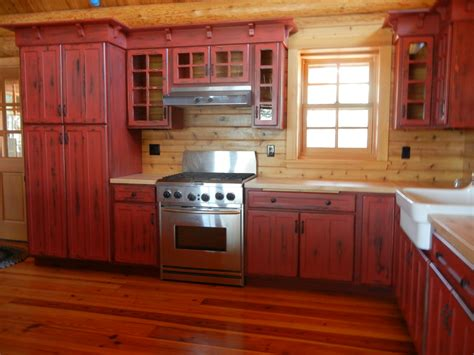 red kitchen cabinets rustic red kitchen cabinets barebones ely