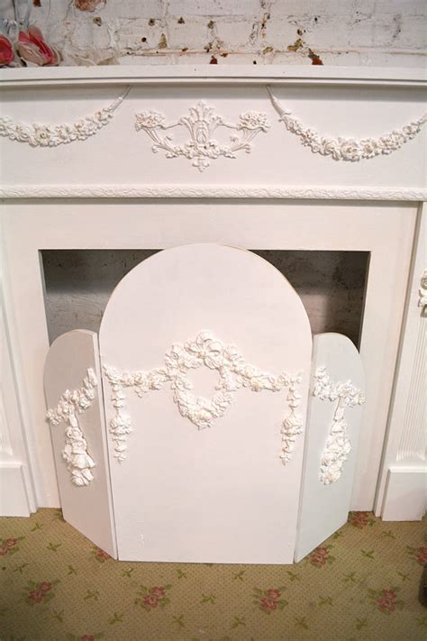 painted cottage shabby chic fireplace screen screen