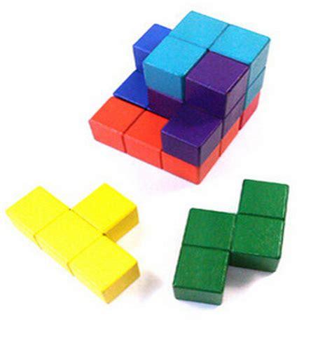 Intelligent Building Blocks Block Kembang intelligent tetris wooden cube building blocks children toys bricks 7 kinds of shape color