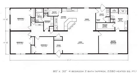 Four Bedroom Floor Plans | 4 bedroom floor plan f 1001 hawks homes manufactured