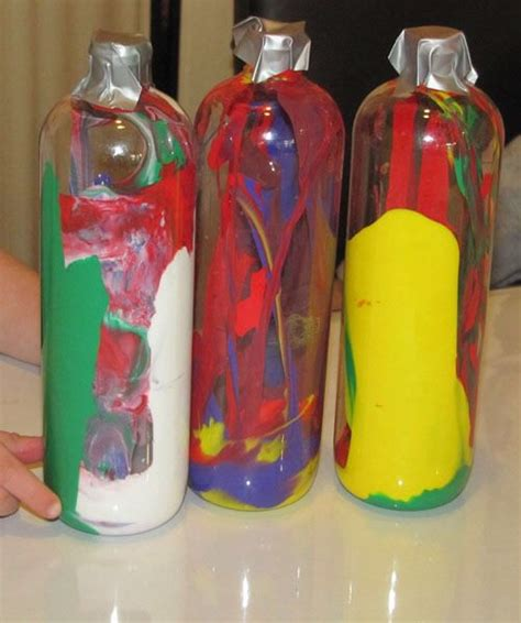 acrylic paint in plastic plastic water bottles and acrylic paint slightly watered
