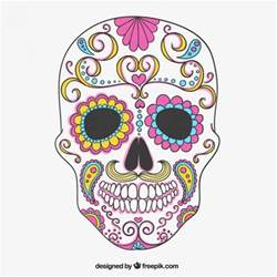 colorful sugar skull vector free