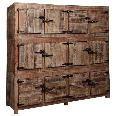 rustic storage cabinets large rustic reclaimed wood 12 storage box wall unit