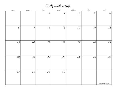 Calendar April 2014 Calendar April 2014 Calendar Template 2016