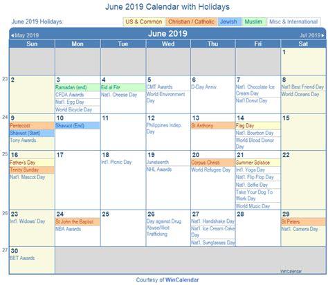 june  calendar  holidays usa uk canada
