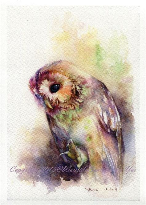 water color owl print the owl watercolor painting 7 5 x 11 quot watercolor