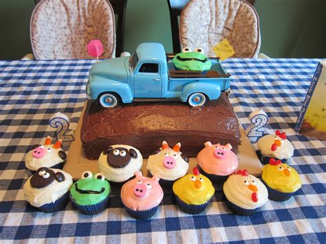 blue truck cake  cupcakes     twins  birthday beep beep beep