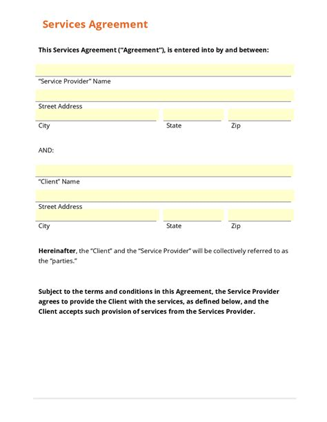 service agreements templates doc 7681024 simple contract for services template free
