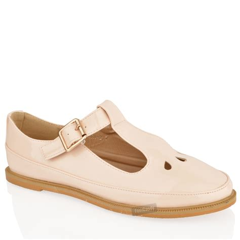 flat shoes for out womens flat cut out t bar pumps