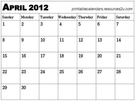 April 2012 Calendar 6 Best Images Of Free Printable Calendar April 2012