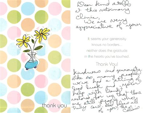 thank you letter after veterinary thank you notes and cards