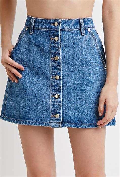 forever 21 button front denim skirt in blue medium denim
