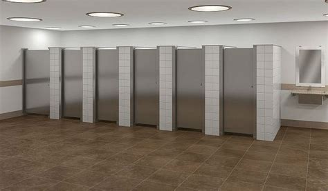 what bathroom stall is used the most floor braced toilet partitions restroom partitions