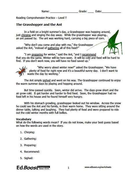 Reading Comprehension Worksheets 3rd Grade Choice by Reading Comprehension 3rd Grade Fables Edboost