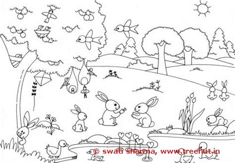 coloring pages of garden scene bird coloring pages