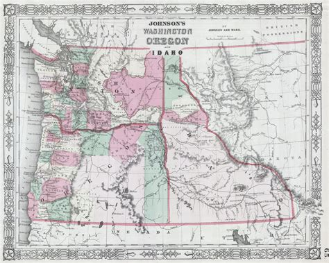 map of oregon idaho border file 1864 johnson map of washington oregon and idaho
