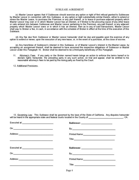California Sublease Agreement Property Contract Template Free California Sublease Agreement Commercial Sublease Agreement Template California