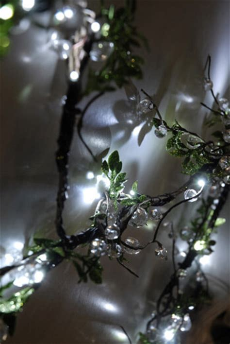 clear crystal led light garland crystal beaded led vine string lights with leaves 72 quot plug in