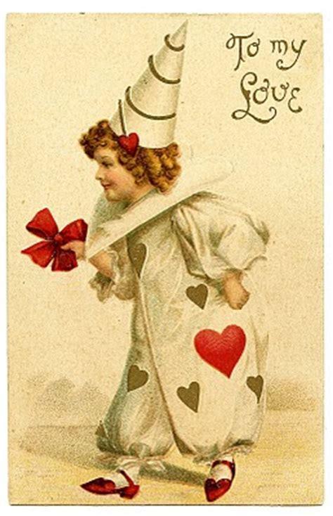 Vintage Valentine's Day Clip Art   Darling Clown Girl
