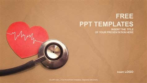 heart design for powerpoint heart and stethoscope medical ppt templates