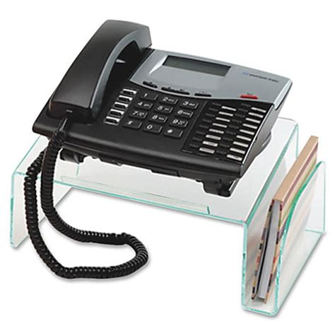 telephone stand desk organizer lorell phone stand 5 12 x 11 x 10 cleargreen edge by