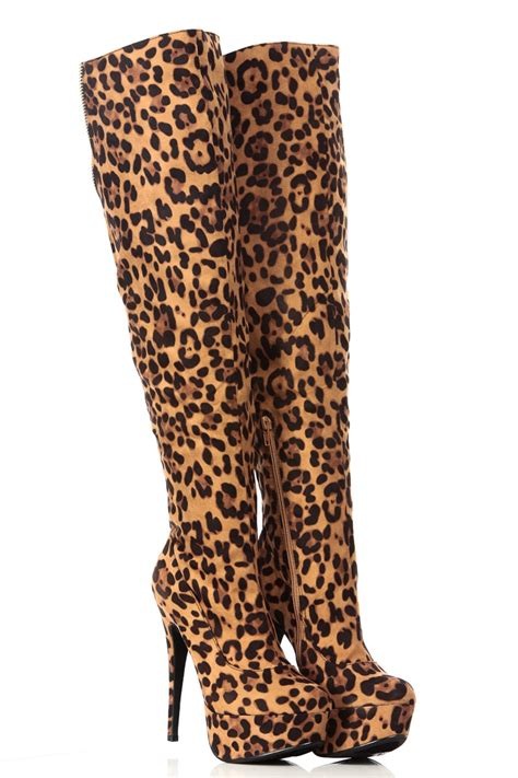 leopard print faux suede thigh high platform boots