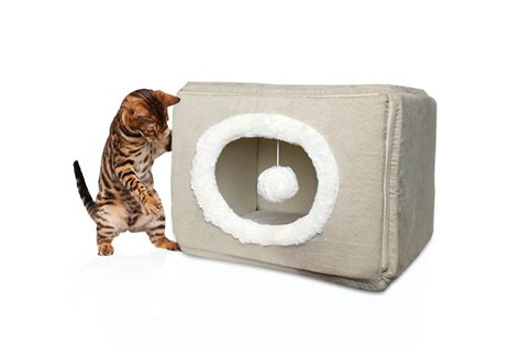 cat cube bed furhaven cozy cube cat or small dog bed pet bed ebay