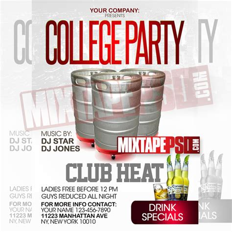 Flyer Template College Party Mixtapepsd Com College Flyer Template