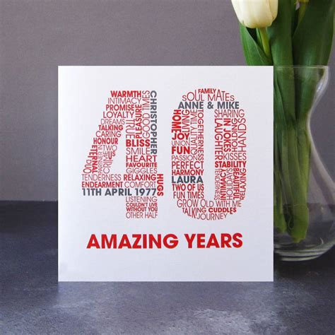 Wedding Anniversary Cards Personalised by Personalised Ruby 40th Wedding Anniversary Card By Mrs L