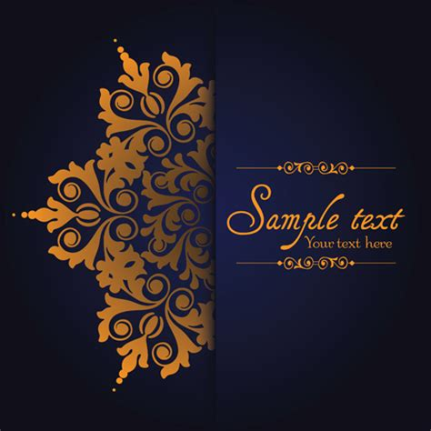 navy blue background decorated the golden royal border royalty free dark blue ornate background with golden decorative vector