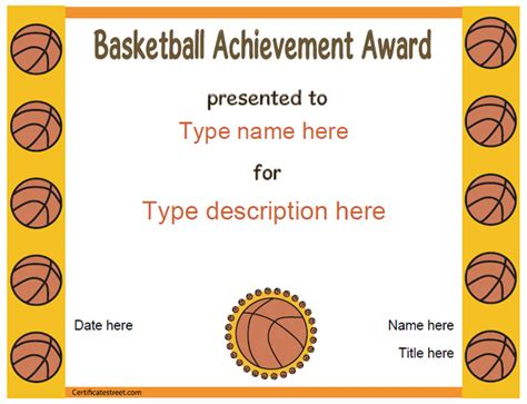 printable basketball award certificate templates