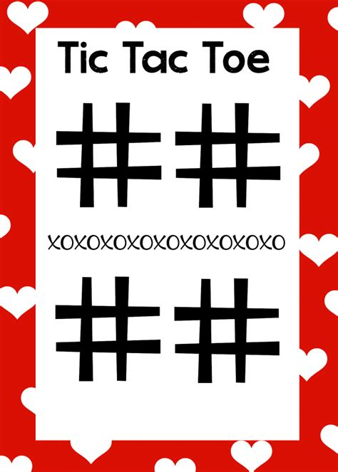 tic tac toe project template free printable s day word search