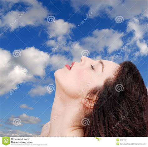 relaxing blue woman relaxing blue sky stock image image 9161641