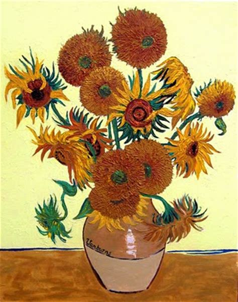 14 Sunflowers In A Vase by Brendan Burns Vase With 14 Sunflowers Gogh Copy