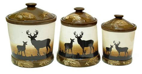 deere kitchen canisters silhouette deer 3pc ceramic canister set yiw 26869 55 95 lodge country accents rustic