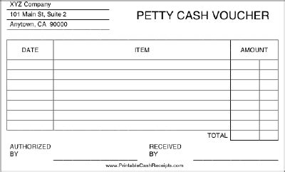 this printable petty cash voucher includes room to list