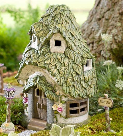 decorative fairy tree house with 3 fairy figurine outdoor miniature fairy garden round solar fairy house ebay