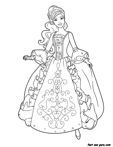 Printable Barbie Princess Dress Book Coloring Pages Princess Coloring Page Printable
