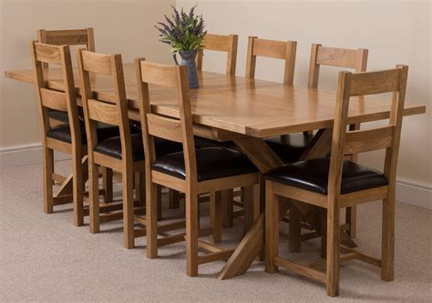 Vermont Dining Set With 8 Lincoln Chairs Oak Furniture King Light Oak Dining Tables And Chairs