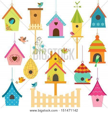 colorful bird houses set of colorful bird houses and birds stock vector