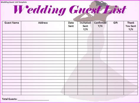 guest list template wedding guest list template i would make just a few more