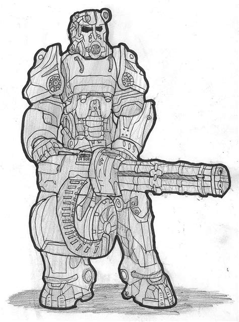 coloring pages fallout fallout 4 power armor by dwestmoore on deviantart
