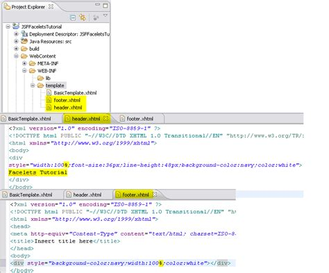 Wtp Tutorials Jsf Facelets Tools Tutorial Html Header Template