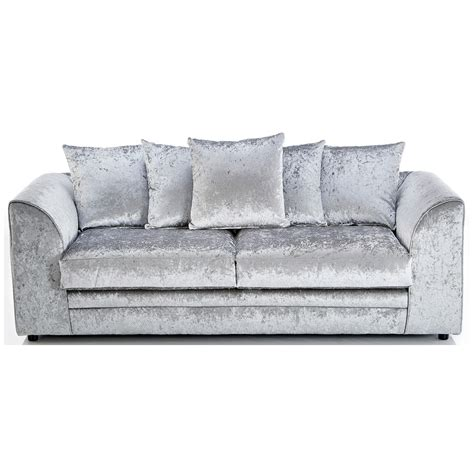 michigan crushed velvet 3 seater sofa silver 3 seater