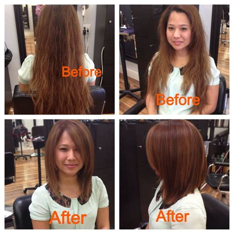 long bob haircuts before and after long bob with color balayage before after