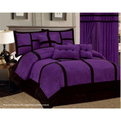 Black And Purple Bed Set 11 Purple Black Comforter Set Sheet Set Micro Suede Cal King Size Bed In A Bag